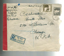 1941 Tel Aviv Palestine Dual Censored Cover To USA Registered - Palestine