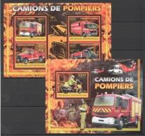 CA851 2012 CENTRAL AFRICA CENTRAFRICAINE CAMIONS DE POMPIERS FIRE TRUCKS 1KB+1BL MNH - Trucks