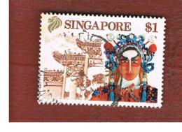 SINGAPORE   -  SG 633  -    1990 CHINESE OPERA SINGER & TEMPLE -  USED ° - Singapore (1959-...)