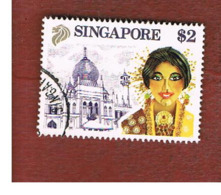 SINGAPORE   -  SG 634  -    1990 MALAY DANCER & MOSQUE -  USED ° - Singapore (1959-...)