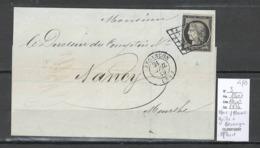 France -Lettre - Yvert 3 - Grille + Cad Besançon - Doubs - 04/1849 - 1849-1876: Période Classique