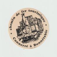 Vieux  Papier  :  Autocollants :  Jaune , Train , Chemin De  Fer  : Connerré  à  Bonnétable  Sarthe - Autocollants
