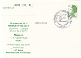 HISTORY, FRENCH REVOLUTION BICENTENARY, MARIANNE, PC STATIONERY, ENTIER POSTAL, 1989, FRANCE - French Revolution