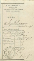 Belgique. Talon Bulletin De Versement 63,87 Fr Bruxelles (Nord)/ Mandats > Meux  1903 - Poststempels/ Marcofilie