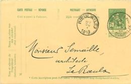 Belgique. CP 45 Réponse  Tournai 2 > Le Roeulx  1913 - Postcards [1909-34]