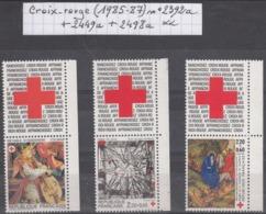France Croix-rouge (1985-87) Y/T N° 2392a + 2449a + 2498a Avec Vignettes De Carnets Neufs ** - France