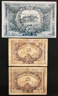 Monaco 25 + 25 + 50 Centimes 1920, 1920-03-20 KM#1+1+3 LOTTO 2914 - Mónaco