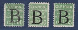 """COLIS POSTAUX  YT105* A 107* SURCHARGE """"B""""  COTE YT 360E - Neufs"""