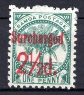 OCEANIE - SAMOA - (Poste Locale) - 1895-1900 - N° 23 - 2 1/2 D. S. 1 P. Vert - (Palmiers) - Samoa