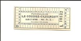 1 Ticket Ancien. Funiculaire La Coudre-Chaumont (Neuchâtel). Voir Description - Transporttickets