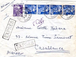Gandon Lettre à 55 F En Exprès Du 21/10/1954 Pour Le Maroc - Postmark Collection (Covers)