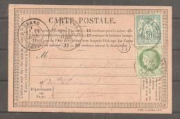 Carte Postale  10 C Sage ( N 65)  Et 5 C  Ceres   Oblit  NEUFCHATEAU 1877 Arrivee Dans Les Vosges - 1871-1875 Cérès