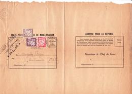 Taxe 29+33+37 Sur Avis De Non-livraison De Colis De Chalon-sur-Saône à Montrevault (Maine-et-Loire) (1939) - Taxes