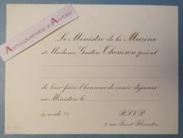 Gaston THOMSON Ministre De La Marine - Carton Vierge D'invitation (début XXè) - Ministère Rue Saint Florentin - Documents Historiques