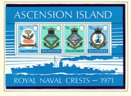 ASCENSION  -  1971 Naval Crests Miniature Sheet Unmounted/Never Hinged Mint - Ascension