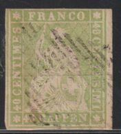 Zwitserland, Helvetia, Swiss 1854  Mi.nr. 17 Y ( II ) Bernerdruck Used   Cat. € 80,- - 1854-1862 Helvetia (Non-dentelés)