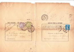 Taxe 29+30 Et Semeuse 140 Sur Avis De Non-livraison De Colis De Chalon-sur-Saône  à Paris (1922) - Postage Due
