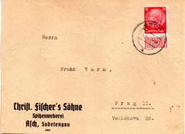 """Sudetenland 1939, Geschäfts-Brief-Vorderseite  EF DR Mi 519 TS ASCH UB """"a"""" 3.8.39 - Sudetenland"""