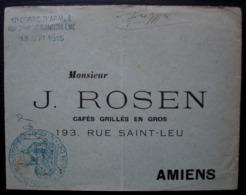 Angoulême 1915 12eme Corps D'armée Hôpital Temporaire N°8 Sur Lettre Pour J. Rosen Café Grillés En Gros à Amiens - Guerre De 1914-18