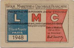 Carte Ancienne - Ligue Maritime & Coloniale Française - 1948 - Melle CORNELOUP - LA CLAYETTE - Documents Historiques