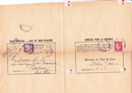 Taxe 37 Et Paix 283 Sur Avis De Non-livraison De Colis De Chalon-sur-Saône à Wasselonne (Bas-Rhin) (1937) - Postage Due