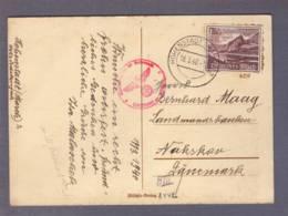 "Carte A Vue ""Ostern "" Aff. 15 Rpf  Aussig 0Obl. Hohenstadt 18.03.1940 -> Danemark - Zensur/censored/censure  B - Besetzungen 1938-45"