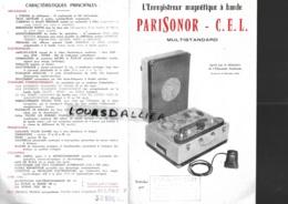 L'enregistreur Magnétique à Bande PARISONOR C.E.L. Multistandard  Mode D'emploi 1957 - Altri Oggetti
