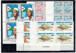 TP DJIBOUTI - AFRIQUE - BLOC DE 4 COINS DATES - N°476 - 481/2 - 486/7 - XX - 1978 - Djibouti (1977-...)