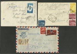 Lot 3 Lettres - Lote 3 Sobres Dont 2 Recommandées >>> FRANCE 1957 & 1960 - 1931-Aujourd'hui: II. République - ....Juan Carlos I