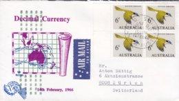 Australia Air Mail Par Avion Label Decimal Currency FDC Cover Ersttags Brief SYDNEY 1966 4-Block Bird Vogel Oiseau Rand - FDC