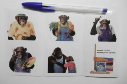 """Autocollant Stickers - Publicité Lessive OMO / Ensemble 6 Autocollants Sur Le Thème Animaux SINGE """"MAOUSSE COSTO"""" - Autocollants"""