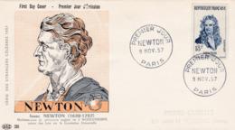 1136 De 1957 - FDC  1er Jour  - Newton (1642-1727) Mathématicien, Physicien Et Astronome - FDC