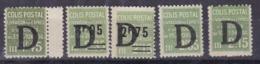 """COLIS POSTAUX  YT137/140/142/143/144** SANS CHARNIERE  """"SURCHARGE D"""" COTE YT 105E - Parcel Post"""