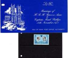 Hochzeit Prinzessin Anne Mit Mark Phillips In Praesentationsmappe 1973 (80719) - Isle Of Man