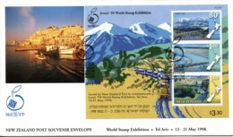 New Zealand 1998 Israel '98 Stamp Exhibition - Trains MS FDC Cover - FDC