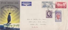 Polaire Néozélandais, N° 1 à 4 Obl. Scott Base Le 11 JA 57 Sur Grand FDC Trans-antarctic Exp. 56-58 Par Avion - FDC