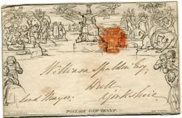 GRANDE-BRETAGNE QUEEN VICTORIA MULREADY POSTAGE ONE PENNY SUR DU PAPIER A LETTRE - 1840 Mulready-Umschläge