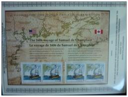 Emissioni Congiunte USA 2006, Samuel De Champlain S/s (joint & Same Issue CANADA) 2 Serie Cpl. 1 BF Nuovi** - Emissioni Congiunte