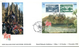 New Zealand 1998 Italia '98 Stamp Exhibition - Pictorials FDC Cover - FDC