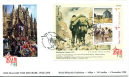 New Zealand 1998 Italia '98 Stamp Exhibition - Paintings FDC Cover - FDC