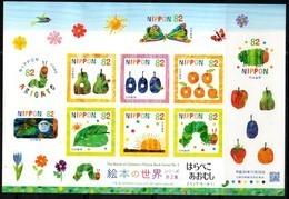 JAPAN, 2018, MNH, CHILDREN'S PICTURE BOOKS, FRUIT, BUTTERFLIES, CATERPILLARS, SHEETLET OF 10v - Childhood & Youth