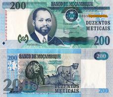 """MOZAMBIQUE 200 Meticais, 2011, P152, UNC, """"Lions"""" - Mozambique"""
