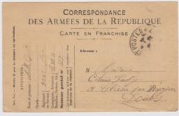 Correspondance Des Armées De La République - Carte En Franchise Du 27 Mars 1917 à Destination De CLERON (Doubs) - War 1914-18