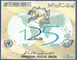 UAE UNITED ARAB EMIRATES MNH 1999 MS MINATURE SHEET UNIVERSAL POSTAL UNION UPU - Ver. Arab. Emirate