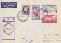 Polaire Néozélandais, N° 1 à 4 Obl. Scott-Base Le 17 DE 63 Sur Lettre Par Avion Recommandée R 27 - Ross Dependency (New Zealand)