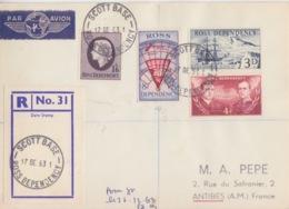 Polaire Néozélandais, N° 1 à 4 Obl. Scott-Base Le 17 DE 63 Sur Lettre Par Avion Recommandée R 31 - Dépendance De Ross (Nouvelle Zélande)