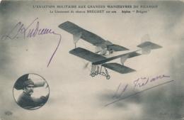 """Lieutenants LUDMAR Et TRETANE - Signatures AUTOGRAPHE - CP """" AVIATION MILITAIRE MANOEUVRES DE PICARDIE """" Bréguet - Aviation"""