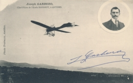 "Aviateur GARBERO - Signature AUTOGRAPHE Sur CP "" Joseph GARBERO Chef Pilote De L' Ecole HANRIOT ANTIBES - Aviateurs"