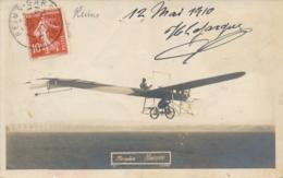 """Pionnier Aviation H. LAFARGUE - Signature AUTOGRAPHE Sur  CP PHOTO """" Monoplan HANRIOT  """" Reims Marne - Luftfahrt"""