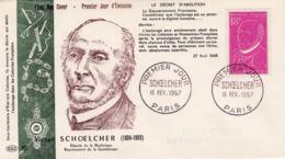 1092 De 1957 - FDC  1er Jour  - Victor Schoelcher (1804-1893) Journaliste Et Homme Politique Français - FDC